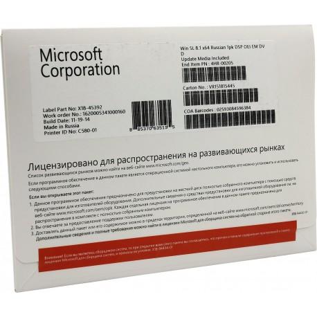 Microsoft Windows 8.1 SL OEM 64Bit Russian 1pk DSP OEI DVD