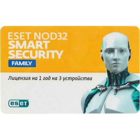 ESET NOD32 Smart Security Family - универсальная лицензия на 1 год на 3 устройства NOD32-ESM-NS(CLCARD)-1-3
